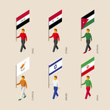Isometric people with flags Iraq, Iran, Jordan, Syria, Cyprus, I Stock Images