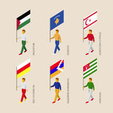 Isometric people with flags: Palestine, Kosovo, Abkhazia, Osseti Stock Photography