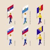 Isometric people with flags: Serbia, Moldova, Slovenia, Slovakia Royalty Free Stock Photos