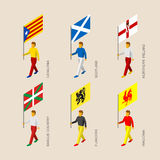 Isometric people with flags of some European regions Royalty Free Stock Photos