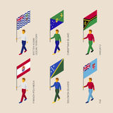 Isometric people with flags: Vanuatu, Fiji, Polynesia, Solomon I Stock Images