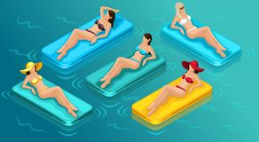 Isometric People 3d Girl in Bathing Suits Beach vector illustration