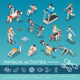 Isometric People In Gym Collection stock illustration
