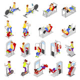 Isometric People at the Gym. Sportsmen Workout. Sports Equipment. Fitness Exercises Royalty Free Stock Image