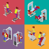 Isometric People at the Gym. Sportsmen Workout. Sports Equipment. Fitness Exercises Royalty Free Stock Images