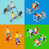 Isometric People at the Gym. Sportsmen Workout. Sports Equipment Stock Photography