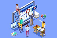 Isometric people images seo illustrations. Isometric people images to create seo illustrations. Can use for web banner, infographics, hero images. Flat isometric Stock Photography