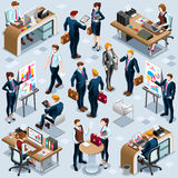 Isometric People Infograph 3D Icon Set Vector Illustration. Isometric people isolated meeting staff infographic. 3D Isometric boss person icon set. Creative Stock Photos