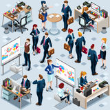 Isometric People Infographic 3D Icon Set Vector Illustration. Isometric people isolated meeting staff infographic. 3D Isometric boss person icon set. Creative Stock Photography