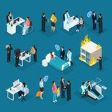 Isometric People And Insurance Collection. With clients agents protection from injuries fire and theft isolated vector illustration Stock Images