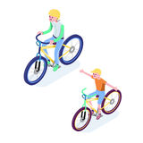 Isometric People. Isometric Bicycle isolated. Cyclist icon. 3D Flat isometric people set cyclist bicycle icons Royalty Free Stock Photo