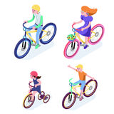 Isometric People. Isometric Bicycle isolated. Family Cyclists gr Stock Images