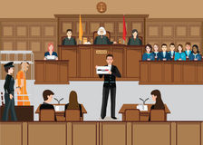 Isometric people judicial system set . Isometric people judicial system set with judge, defendant, attorney, jury and witnesses vector illustration Royalty Free Stock Images
