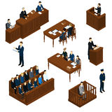 Isometric People Judicial System Set. With judge defendant jury attorney policeman and witnesses interrogation isolated vector illustration Stock Photos