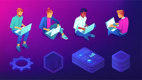 Isometric people with laptops and technology elements set. Stock Image