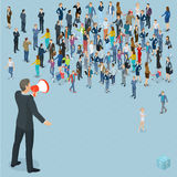Isometric people with loudspeaker. Bn with megaphone. Isometric front and back view people with loudspeaker. Various characters, professions and poses Stock Images