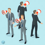 Isometric people with loudspeaker. Isometric front and back view people with loudspeaker. Megaphone alert promotion. Various characters, professions and poses Stock Photography