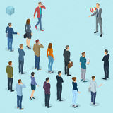 Isometric people with loudspeaker. Isometric front and back view people with loudspeaker. Megaphone alert promotion. Various characters, professions and poses Royalty Free Stock Image