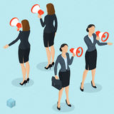 Isometric people with loudspeaker. Stock Image