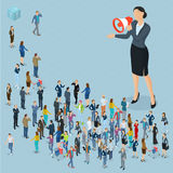 Isometric people with loudspeaker. Isometric front and back view people with loudspeaker. Megaphone alert promotion. Various characters, professions and poses Stock Photo