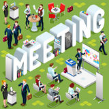Isometric People Meeting 3D Icon Set Vector Illustration Royalty Free Stock Image