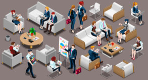 Isometric People Meeting Room Icon 3D Set Vector Illustration Royalty Free Stock Image