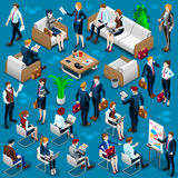 Isometric People Meeting Staff 3D Icon Set Vector Illustration. Isometric people isolated meeting staff infographic. 3D Isometric boss person icon set. Creative Royalty Free Stock Photos