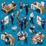 Isometric People Men Agreement 3D Icon Set Vector Illustration Stock Images