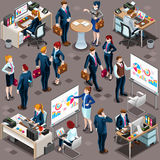 Isometric People Men Partnership 3D Icon Set Vector Illustration. Isometric people isolated meeting staff infographic. 3D Isometric boss person icon set Stock Photo