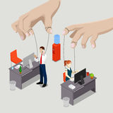 Isometric People. Office Puppets, Controlled Workers Stock Photo