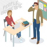 Isometric people in office. Set of isometric 3d flat design vector standing and sitting business people different characters, styles and professions. Isometric Stock Photography
