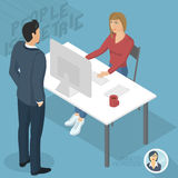Isometric people in office. Set of isometric 3d flat design vector standing and sitting business people different characters, styles and professions. Isometric Stock Images