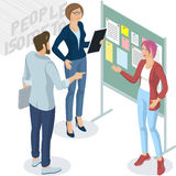 Isometric people in office. Set of isometric 3d flat design vector standing and sitting business people different characters, styles and professions. Isometric Royalty Free Stock Image