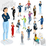 Isometric people in office. Set of isometric 3d flat design vector standing and sitting business people different characters, styles and professions. Isometric Royalty Free Stock Photo