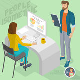 Isometric people in office. Set of isometric 3d flat design vector standing and sitting business people different characters, styles and professions. Isometric Stock Photo