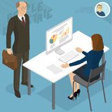 Isometric people in office. Set of isometric 3d flat design vector standing and sitting business people different characters, styles and professions. Isometric Stock Photos