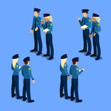 Isometric People. Policeman and Policewoman at Work Stock Images