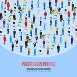 Isometric People Professions Background. People background isometric composition of human characters in uniform representing different professions with editable Stock Photos