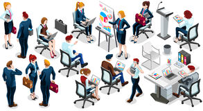 Isometric People Sale Interview 3D Icon Set Vector Illustration Stock Images