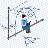 Isometric people. School routine. Boy student on the background of math formulas Royalty Free Stock Image