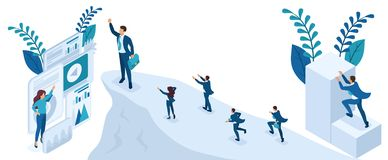 Isometric Build a Career, Succeed at the Top stock illustration
