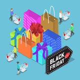 Isometric people shopping in black friday sale Royalty Free Stock Photography