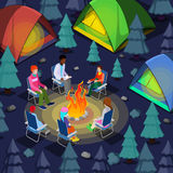 Isometric People Sitting Near Camping Bonfire in Forest. Vector illustration Stock Images