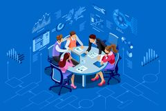 Isometric people team management concept. Isometric people team contemporary management concept. Can use for web banner, infographics, hero images. Flat Stock Image
