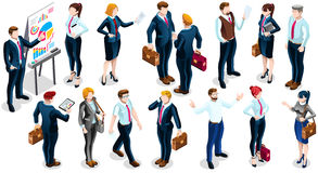 Isometric People Team Deal 3D Icon Set Vector Illustration. Isometric people isolated meeting staff infographic. 3D Isometric boss person icon set. Creative Stock Images