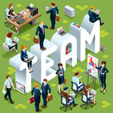 Isometric People Team Icon 3D Set Vector Illustration. Team Group of Diverse Isometric Business People. 3D meeting infograph crowd with standing walking casual Royalty Free Stock Images