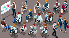 Isometric People Team Meeting 3D Icon Set Vector Illustration. Isometric people isolated meeting staff infographic. 3D Isometric boss person icon set. Creative Royalty Free Stock Photo