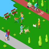 Isometric People Training Dogs in the City Park. Vector flat 3d illustration Stock Images