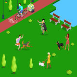 Isometric People Training Dogs in the Park. Vector flat 3d illustration Stock Photography