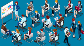 Isometric People Training Room Icon 3D Set Vector Illustration Royalty Free Stock Photography